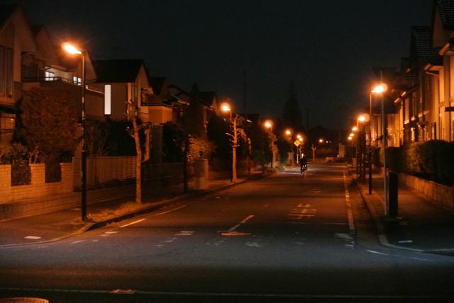 夜間自転車尾行